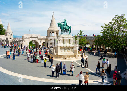 Szentharomsag ter, in front of Fisherman's bastion, Castle district, Buda, Budapest, Hungary, Europe - Stock Photo