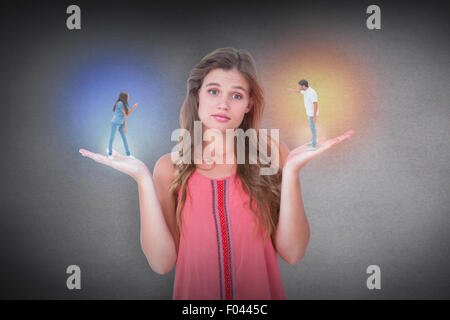 Composite image of angry couple shouting at each other - Stock Photo