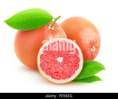 Pink grapefruits isolated on white - Stock Photo