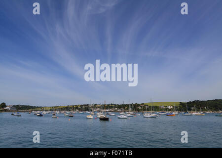 Small boats moored under a clear blue sky in Falmouth harbour, Falmouth, Cornwall - Stock Photo