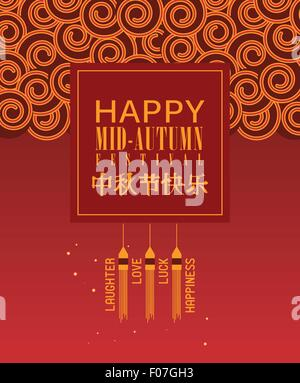Mid Autumn Lantern Festival vector background with chinese pattern - Stock Photo