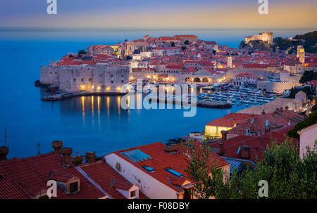 Predawn light over Dubrovnik, Croatia, with its characteristic medieval city walls. - Stock Photo