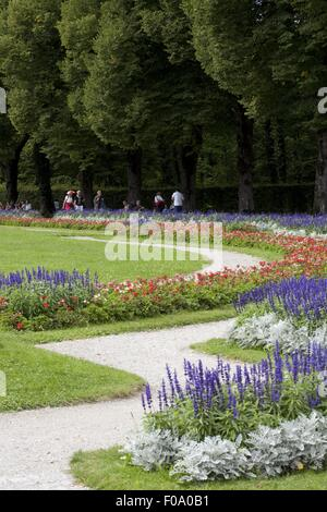 View of garden with flower at Herrenchiemsee New Palace, Chiemgau, Bavaria, Germany - Stock Photo