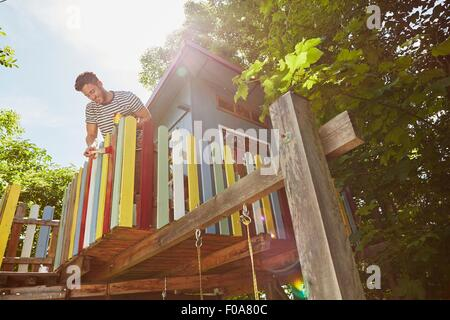 Young man painting tree house, low angle view - Stock Photo