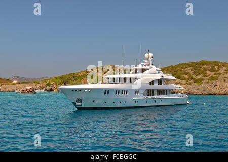 Super yacht anchored in the mediterranean. - Stock Photo