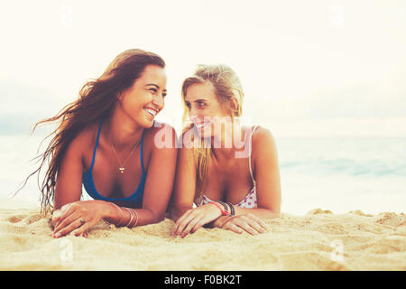 Summer Lifestyle, Girls Day at the Beach. Friends Hanging out at the Beach at Sunset - Stock Photo
