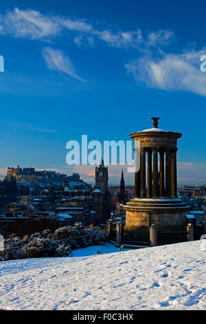 Edinburgh from Calton Hill city winter skyline with Dugald Stewart monument in foreground, Lothian, Scotland, UK, - Stock Photo