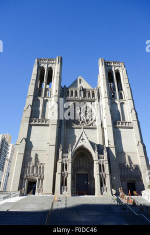 Exitor of Grace Cathedral, San Francisco California USA - Stock Photo