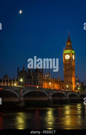 London Southbank Palace Of Westminster Big Ben Elizabeth Tower previously Clock or St Stephens Tower Cathedral Bridge - Stock Photo