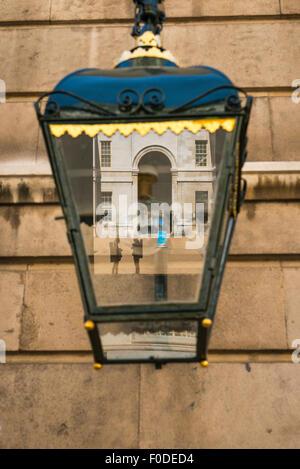 London Southbank Greenwich University built Sir Christopher Wren & Nicholas Hawksmoor deatil ornate iron street - Stock Photo