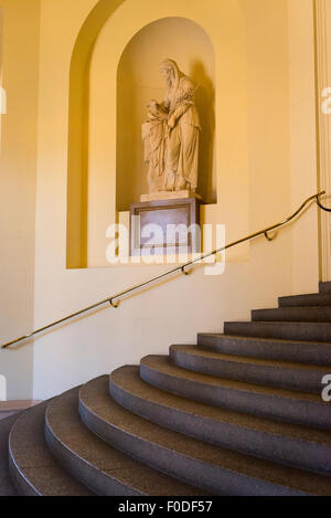 London Southbank Greenwich Maritime Royal Naval College neo classical Chapel staircase statue nymph muse lamb sheep - Stock Photo