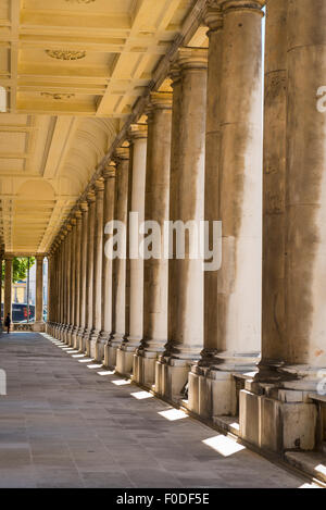 London Southbank Greenwich Maritime Royal Naval College neo classical Chapel detail colonnade pillars pillar column - Stock Photo
