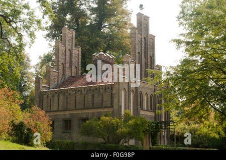 Matrosenhaus im Potsdamer  Park des Babelsberger Schlosses, Backsteingotik - Stock Photo