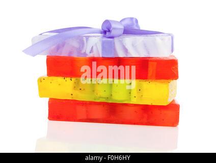 handmade soaps isolated on white - Stock Photo