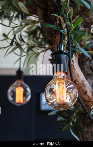 Interior lighting decoration with vintage eclectic lightbulbs - Stock Photo
