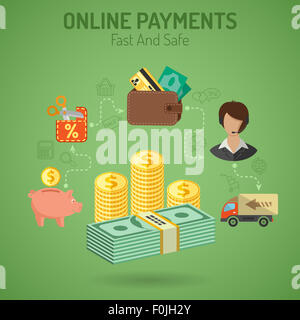 illustration in style Flat and Line different icons on theme of Online Payments, delivery of goods, such as Money, - Stock Photo