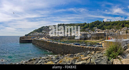 Horizontal panoramic (2 picture stitch) view of Mousehole in Cornwall - Stock Photo
