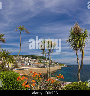 Square view of Mousehole in Cornwall. - Stock Photo