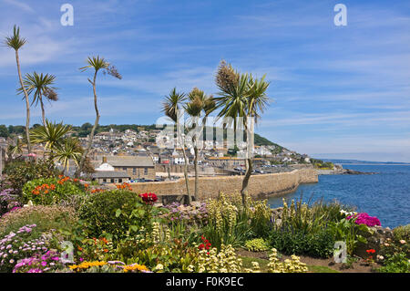 Horizontal view of Mousehole in Cornwall. - Stock Photo