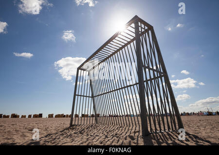 Germany, Luebeck Travemuende, goal on the beach at backlight - Stock Photo