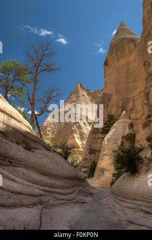 A wide spot in the slot canyon of the Kasha-Katuwe Tent Rocks National Monument, Pueblo de Cochiti, New Mexico - Stock Photo