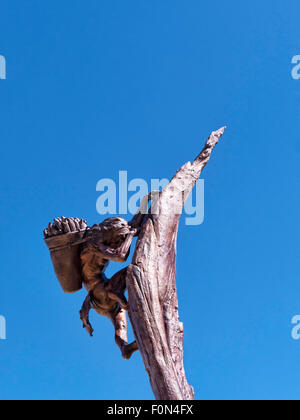 Monument and Statue to the cliff dwelling native Americans in Mesa Verde National Park Colorado USA. - Stock Photo