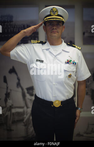 Mexico City, Mexico. 18th Aug, 2015. Commander Jose Carlos Luna Loaeza poses for a picture after an interview with - Stock Photo