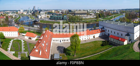 Panoramic view of Vilnius city in Lithuania, with historical architectural structures, buildings around, with a - Stock Photo