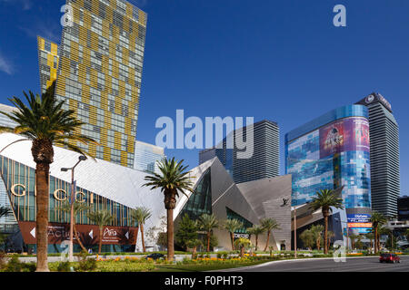Citycenter on Las Vegas Boulevard, with the Gucci store, Crystals, Aria Resort, Veer Towers, and the Cosmopolitan - Stock Photo