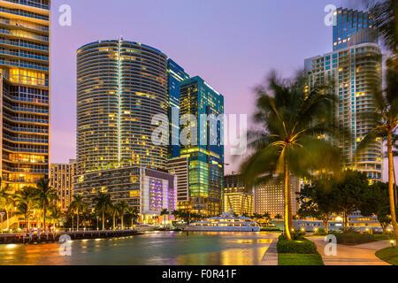 Miami Downtown, Brickell Key at Night - Stock Photo