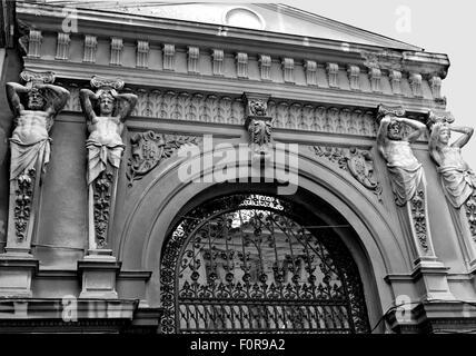 Ornate entrance to the glass covered Pasajul Macca-Vilacrosse arcade in Bucharest, Romania - Stock Photo