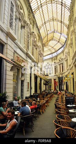 Cafes within Pasajul Macca-Vilacrosse arcade, in Bucharest, Romania - Stock Photo