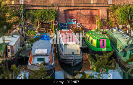 Colourful Narrow Boats moored up at Lisson Grove on The Regents Canal, London, UK - Stock Photo