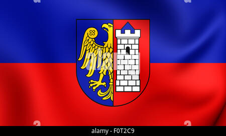 3D Flag of Gliwice City, Poland. Close Up. - Stock Photo