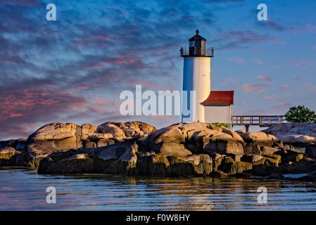Historic Annisquam Harbor Lighthouse Station on Wigwam Point in the Annisquam neighborhood of Gloucester, Massachusetts. - Stock Photo