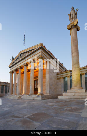 Building of the modern Academy of Athens, the highest research establishment of the country located in Panepistimio - Stock Photo