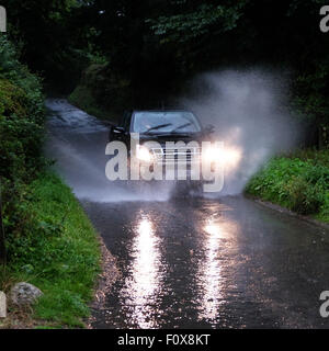 Titley, Herefordshire, UK. 22nd August, 2015. After a day of very hot and humid weather a summer thunderstorm brought - Stock Photo