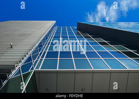Modern architecture of Dublin Docklands area on a beautiful day - Stock Photo