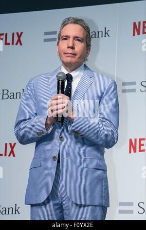 American TV producer Dave Spector speaks during a media event to announce a business alliance for the Netflix video - Stock Photo