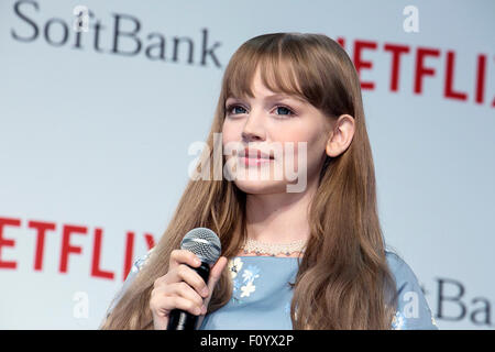 Model Dakota Rose attends a media event to announce a business alliance for the Netflix video delivery service in - Stock Photo