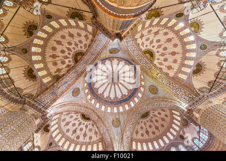Interior view of the dome in the Blue Mosque, Sultan Ahmed Mosque, European Side, Istanbul, Turkey - Stock Photo