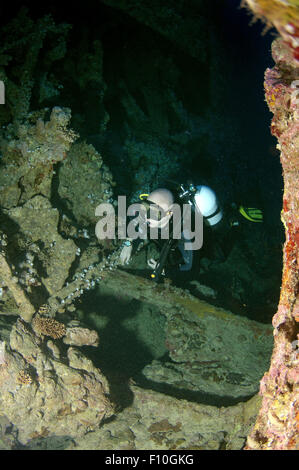 Red Sea, Egypt. 15th Oct, 2014. Diver looking at shipwreck ''SS Dunraven''. Red sea, Egypt, Africa © Andrey Nekrasov/ZUMA - Stock Photo