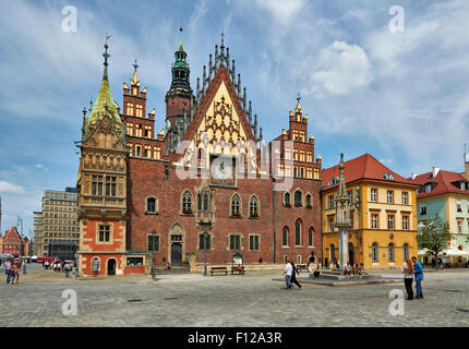 historical City hall on Market Square or Ryneck of Wroclaw, Lower Silesia, Poland, Europe - Stock Photo