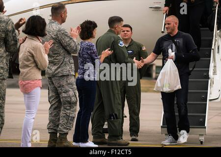Paris, France. 24th Aug, 2015. U.S. Airman 1st Class Spencer Stone is welcomed by Lt. Gen. Timothy M. Ray, 3rd Air - Stock Photo