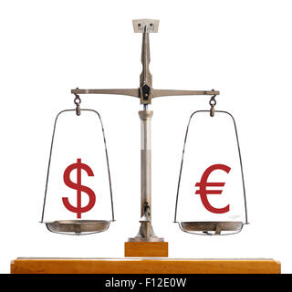 Dollar Euro currency scale showing the value of the two currencies in equilibrium - Stock Photo