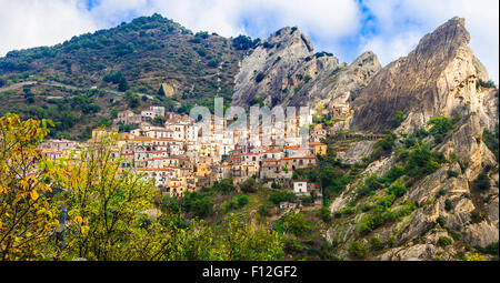 Beautiful mountain village Castelmezzano in Basilicata, Italy - Stock Photo