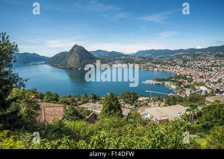 Panoramic view of Lugano, Ticino canton, Switzerland - Stock Photo