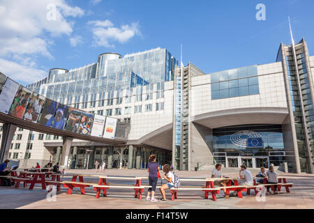 European Parliament office buildings at the Espace Leopold (Leopold Square). August 21, 2015 in Brussels, Belgium - Stock Photo