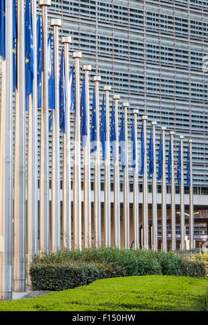European Union flags in front of the European Comission building in Brussels, Belgium - Stock Photo