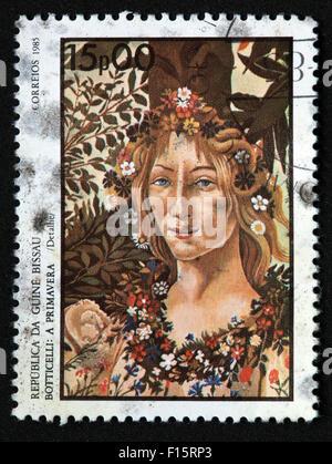 Republica Da Guine Bissau Botticelli a Primavera Spring in Correios 1985 15p00 girl woman flowers in hair stamp - Stock Photo